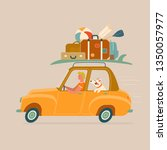 traveling on a car. vector... | Shutterstock .eps vector #1350057977
