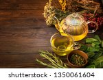 tea with dried herbs on a... | Shutterstock . vector #1350061604