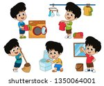 one day the kid helps parents...   Shutterstock .eps vector #1350064001