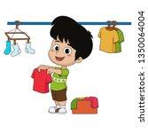 kid help their parents wash... | Shutterstock .eps vector #1350064004