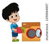 kid help their parents wash... | Shutterstock .eps vector #1350064007