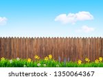 spring flowers and wooden... | Shutterstock . vector #1350064367