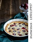 plum cotage cheese tart with... | Shutterstock . vector #1350119957