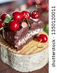 slice of a chocolate cherry... | Shutterstock . vector #1350120011