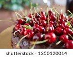 chocolate cherry layer cake | Shutterstock . vector #1350120014