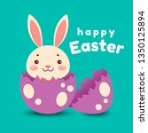 a cute cartoon bunny in a red... | Shutterstock .eps vector #1350125894