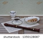 english teacup with saucer ... | Shutterstock . vector #1350128087