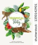 tropical hawaiian party... | Shutterstock .eps vector #1350142901