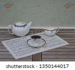 english teacup with saucer ... | Shutterstock . vector #1350144017