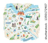 illustrated map of amsterdam ... | Shutterstock .eps vector #1350172907