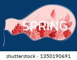 paper art style. spring season... | Shutterstock .eps vector #1350190691