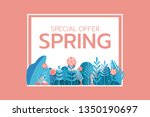 paper art style. spring sale... | Shutterstock .eps vector #1350190697