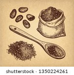 cocoa set. ink sketch on old... | Shutterstock .eps vector #1350224261