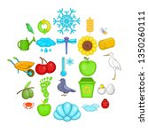 ecological diversity icons set. ... | Shutterstock . vector #1350260111