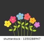 colorful flowers on black... | Shutterstock .eps vector #1350288947