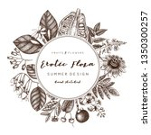 floral wreath. ink hand drawn... | Shutterstock .eps vector #1350300257