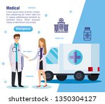 woman and man doctors with...   Shutterstock .eps vector #1350304127