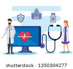 man and woman doctors with...   Shutterstock .eps vector #1350304277