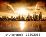 Modern City surrounded by pollution - stock photo