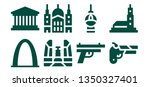 historic icon set. 8 filled... | Shutterstock .eps vector #1350327401