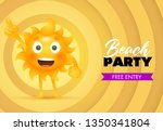 Beach Party, Free Entry lettering with sun cartoon character. Tourism, summer party invitation design. Handwritten and typed text, calligraphy. For brochures, invitations, posters or banners.