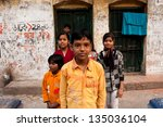 Small photo of KOLKATA, INDIA - JAN 17: Unidentified children pose outdoor after school classes on January 17, 2012 in Kolkata, India. Kolkata's literacy rate of 87.14% exceeds the all-India average of 74%.