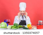 culinary expert. woman chef... | Shutterstock . vector #1350374057