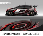 racing car wrap design vector.... | Shutterstock .eps vector #1350378311