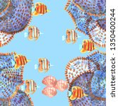 seamless pattern with fishes....   Shutterstock . vector #1350400244