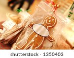 ginger bread man with oval tag... | Shutterstock . vector #1350403