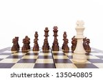 chess pieces in a row on board... | Shutterstock . vector #135040805