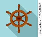 ship steering wheel icon. flat... | Shutterstock .eps vector #1350418967