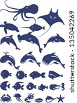 stylized set of marine animals... | Shutterstock .eps vector #135042269