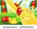 mango juice and splash. flow of ... | Shutterstock .eps vector #1350429491