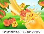 peach juice and splash. flow of ... | Shutterstock .eps vector #1350429497
