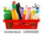 shopping basket with detergent... | Shutterstock . vector #135043085