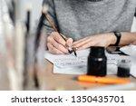 delicate little hands of a...   Shutterstock . vector #1350435701