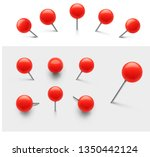 set of red push pins.... | Shutterstock .eps vector #1350442124