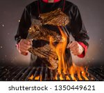 flying beef steaks above the... | Shutterstock . vector #1350449621