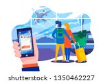 a young couple at the airport... | Shutterstock .eps vector #1350462227