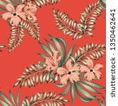 tropical pink hibiscus flowers  ... | Shutterstock .eps vector #1350462641