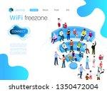 people in wi fi zone. public wi ... | Shutterstock .eps vector #1350472004