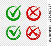 check mark icon and cross on... | Shutterstock .eps vector #1350507137