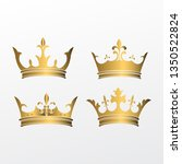 Set Of Crown Symbol With Golden ...