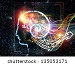 Interplay of outline of human head and symbolic elements on the subject of knowledge, science, technology and education - stock photo