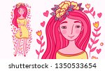 beautiful young woman with pink ... | Shutterstock .eps vector #1350533654