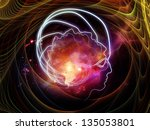 Background design of outlines of human head, technological and fractal elements on the subject of artificial intelligence, computer science and future technologies - stock photo