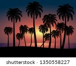 tropical beach sunset with... | Shutterstock .eps vector #1350558227