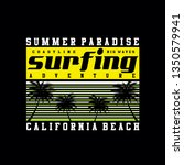 surfing california beach tee... | Shutterstock .eps vector #1350579941