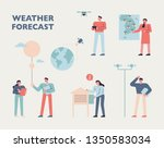 people who observe the weather... | Shutterstock .eps vector #1350583034